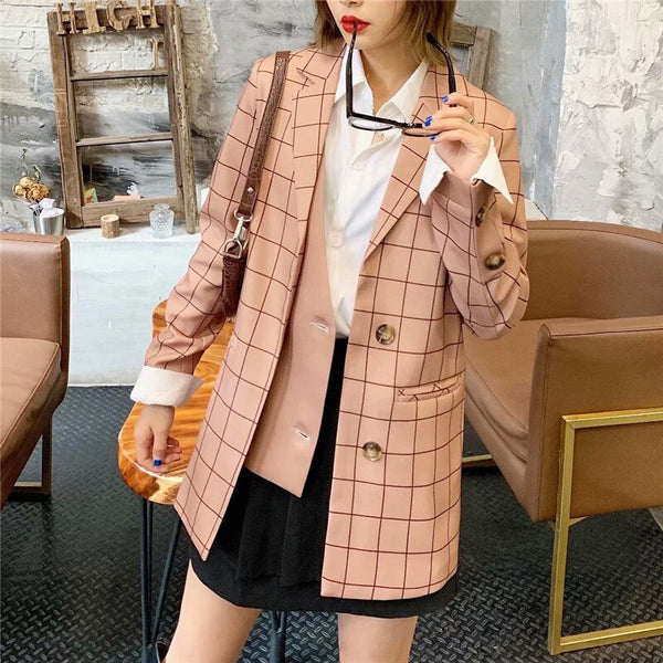 2020 Stylish Patchwork Plaid suit Blazer Women Notched Collar Long Sleeve Blazers