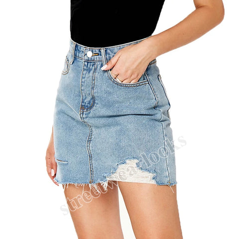 2020 Summer Hole Women's Dress Package Hip  Denim Skirt