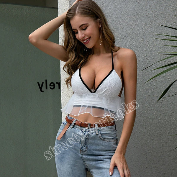 2020 Summer Sexy Black and White Suspender V-neck Ruffle Lace Women's Top