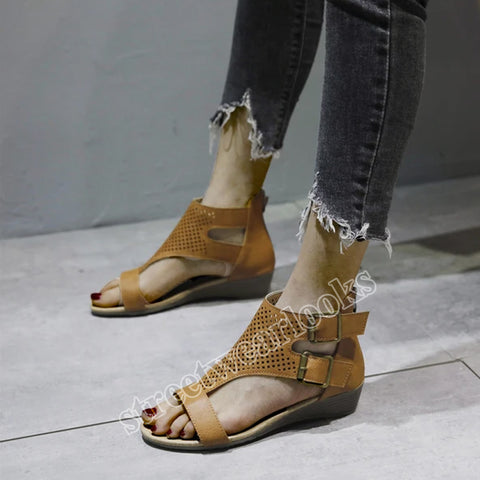2020 Summer Side Buckle Roman Sandals