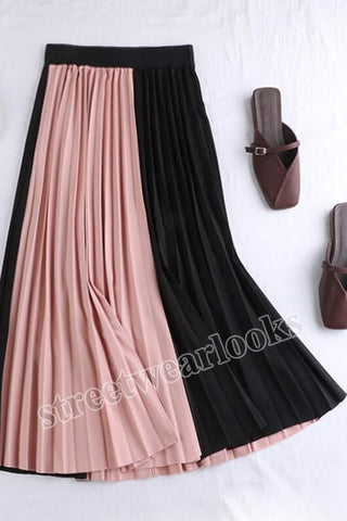 2020 Winter Women Color Patchwork Pleated Fashion Skirt