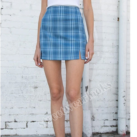2020 high waist plaid split skirt A-line skirt women's summerSkirt