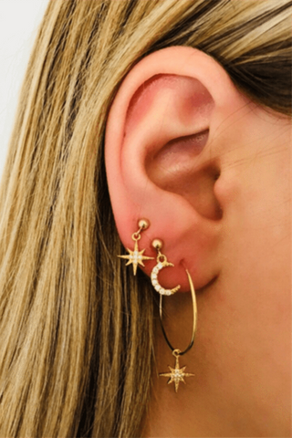 Full Diamond Star Moon Earring Stud Earrings Combination