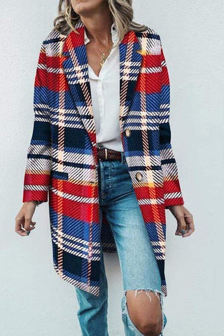 Fashion Lapel Color Blocking Loose Colorful Woolen Long Coat
