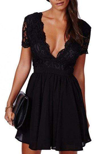 Chiffon Patchwork Backless Dress