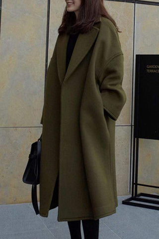 Oversized Lapel Plain Pocket Woolen Coat
