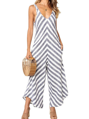 Chic Striped V-neck Sleeveless Straps Jumpsuits