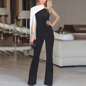 Fashion single sleeve solid color stitching jumpsuit