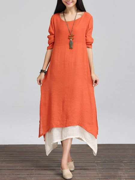 Asymmetric Hem  Color Block  Double Layer Maxi Dress