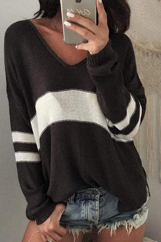 MODEVOVAk V Neck Knit Hollow Out Sweaters