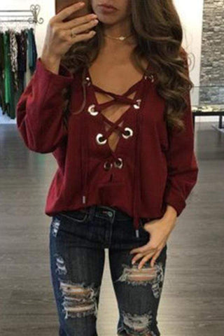 Deep V Neck  Lace Up  Plain  Sexy T-Shirts