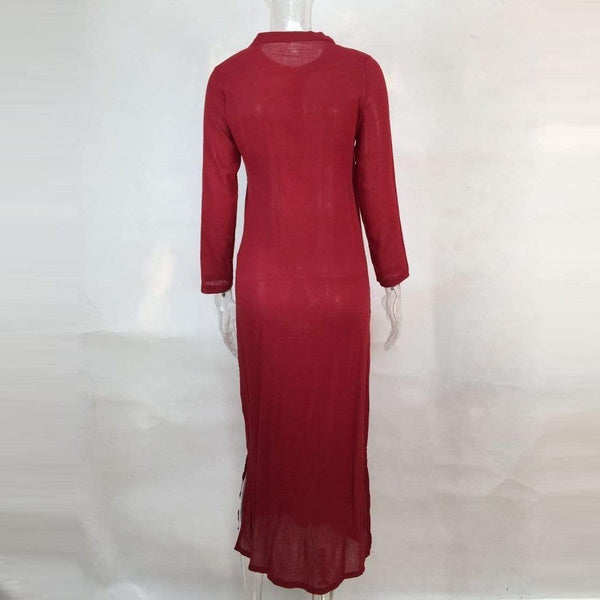 Bohemian Deep V Collar Plain Long-Sleeved Dress