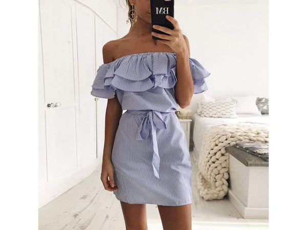 Sexy Off Shoulder Stripe Pattern Self-Tie Design Mini Dress