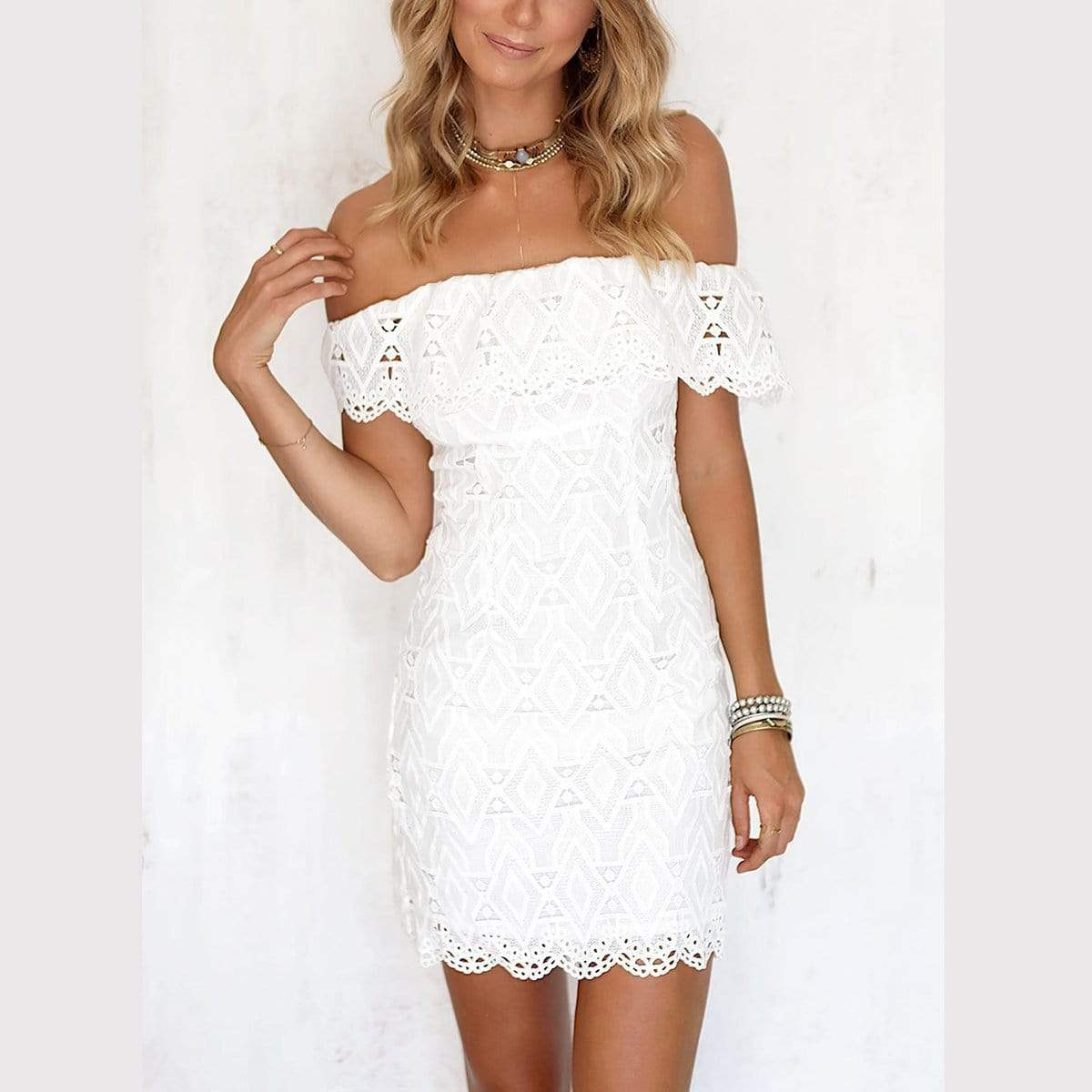 Sexy White Off Shoulder Lace Mini Dress