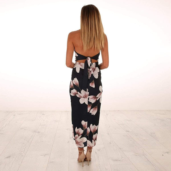 Floral Print Off Shoulder Sleeveless Maxi Dress