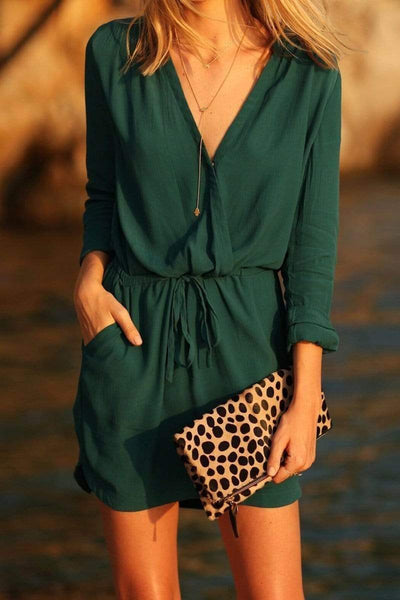Green Sexy Elegant 3/4 Sleeves Mini Dress