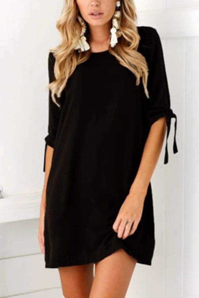 Casual Long Sleeves Pure Color Mini Dress