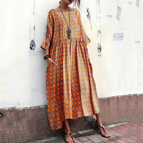 Cotton And Linen Printed Dress With Round Neck And Short Sleeves