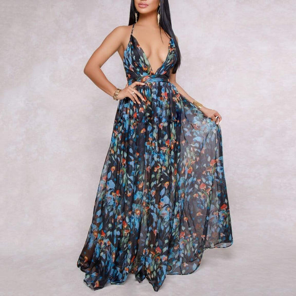 Bohemian Sexy Deep V Backless Maxi Beach Vacation Dress
