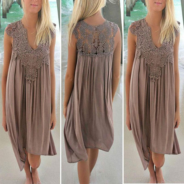 modevova Lace Spliced Chiffon Loose Dress