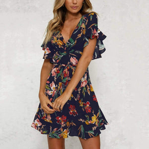 Bohemian  Floral Print Mini Casual Dress