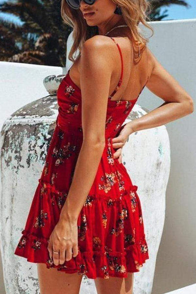 Sexy Floral Print Sleeveless Mini Dress