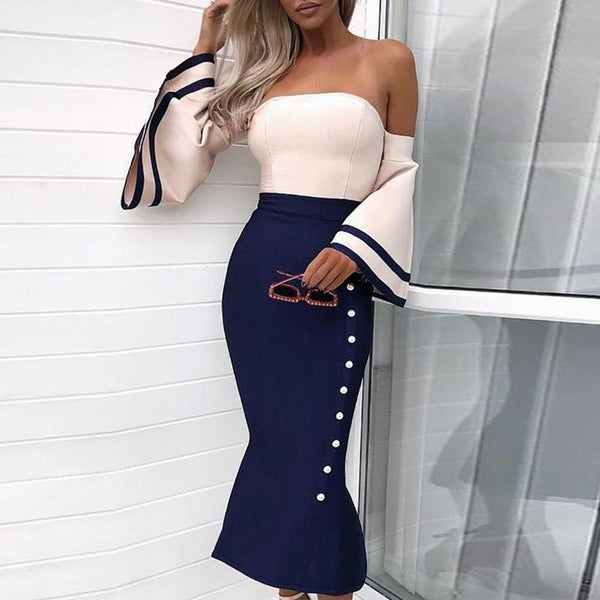 Sexy Off-The-Shoulder Fishtail Bodycon Dress