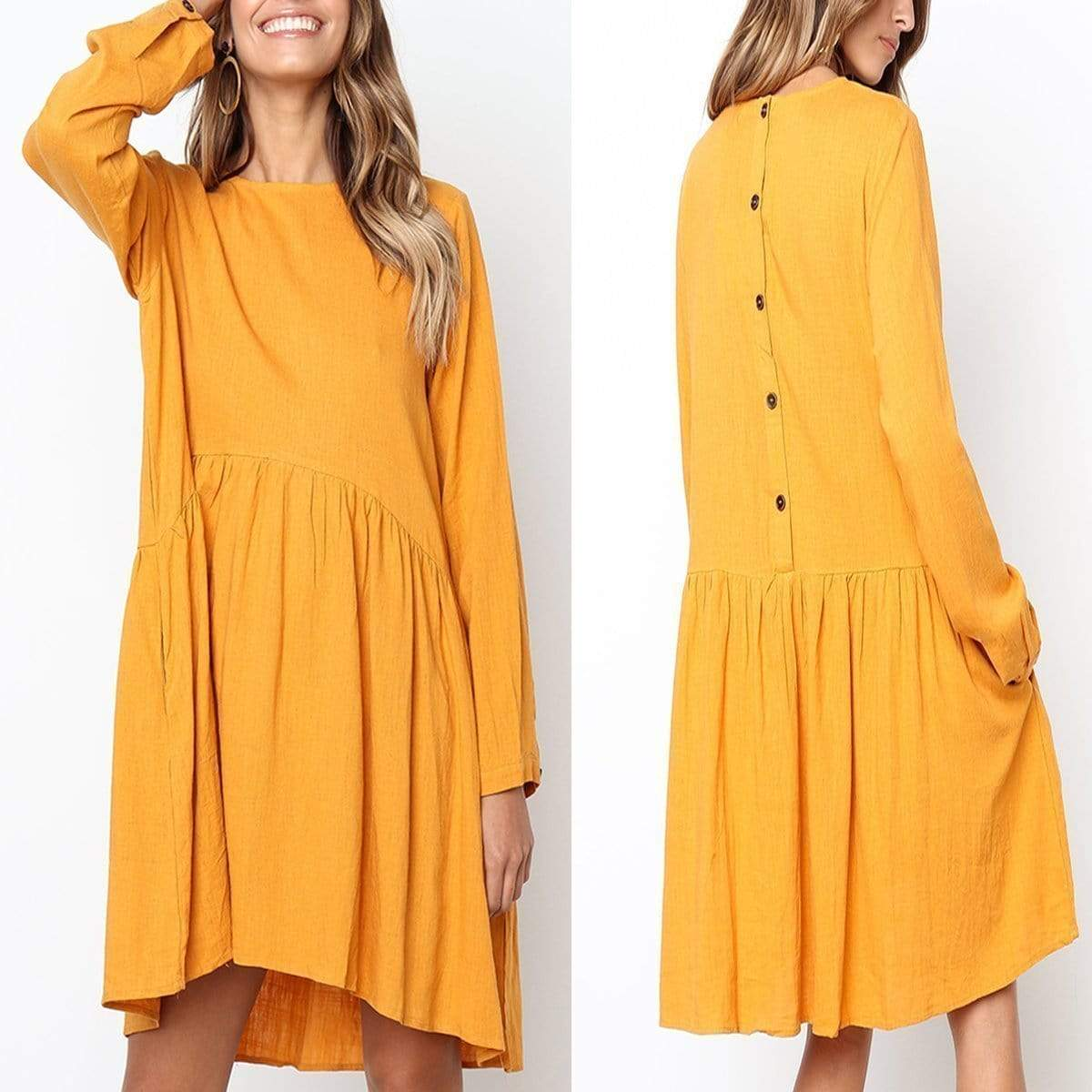 Fashion Yellow Button Up Long Sleeve Mini Dresses