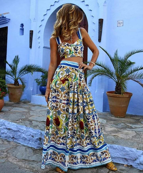 Sexy Off Shoulder Floral Printed Midriff Baring Suit