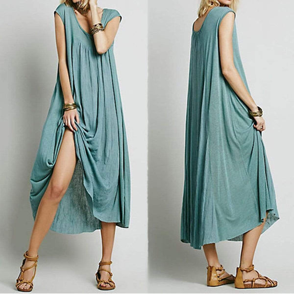 Sexy Green Short Sleeves Plain Vintage Dress Maxi Dress