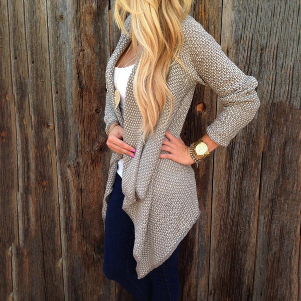 Medium Long Irregular Lapel Ladies Cardigan Sweater