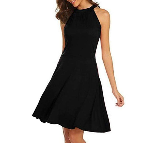 Sexy Slim Plain Halter Sleeveless Shift Dress