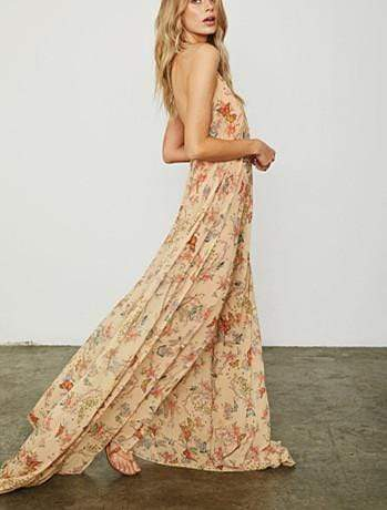 Sexy Open-Back Strap Printing Loose Maxi Dress