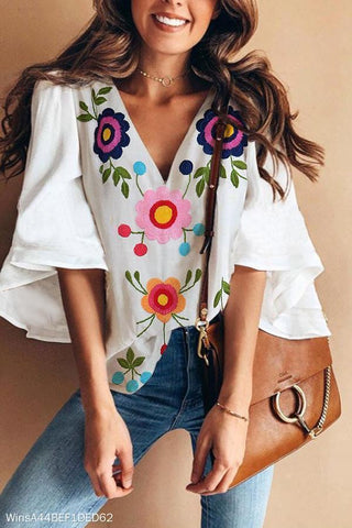 MODEVOVA Sexy V Collar Floral Print Bell Sleeve T-Shirt Blouse
