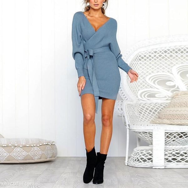 Sexy V Neck Backless Long Bat wing Sleeve Knitting Bodycon Dress