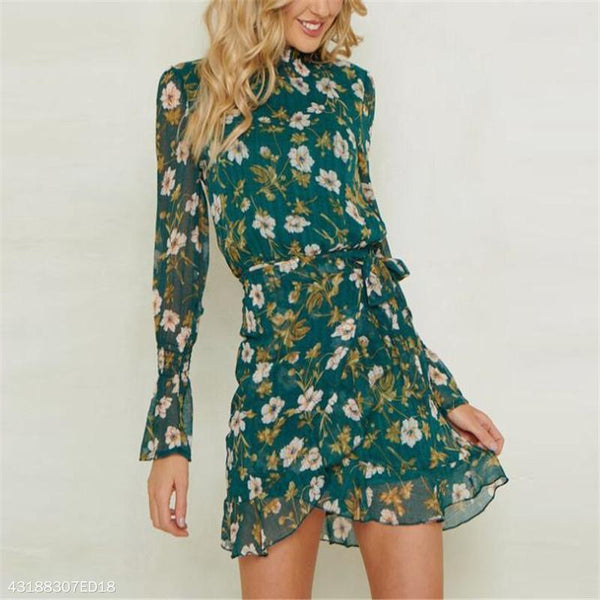 Fashion Nifty Slim Floral High Collar Long Sleeve Shift Dress