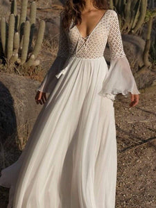 Bohemian Deep V-Neck  Lace-Up  Lace  Bell Sleeve Maxi Dresses