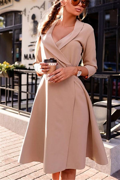 A Turtleneck Tethered Dress With  Seven Sleeve dress