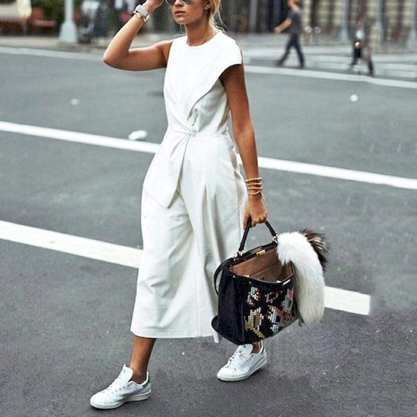 Fasion Women Wide Leg Loose Strapless White Jumpsuits