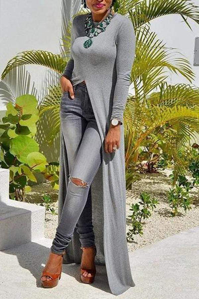 Sexy Pure Colour Long   Sleeve Split Dress/ Top