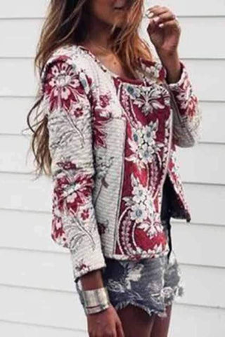 Fashion Printed Colour Long Sleeve Jacket