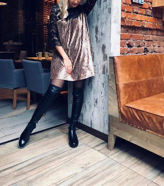 Fashion Casual Sexy Lace Patchwork Pleated Dress With Underskirt Mini Dresses