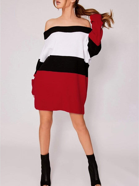 Fashion Boat Neck Contrast Color Knitted Mini Dresses