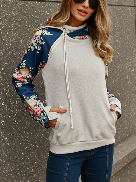 High Collar Stitching Hooded Sweater