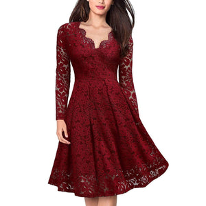 Casual Lace V Neck Pure Colour Mini Dresses