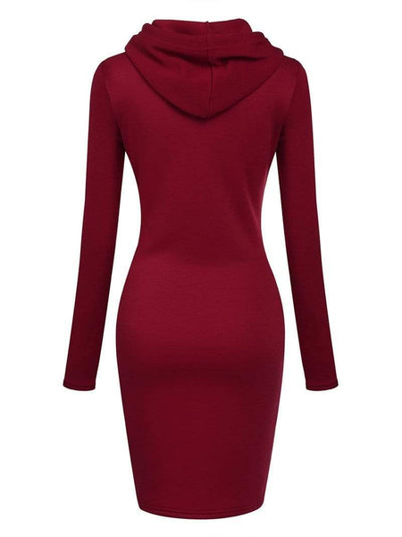 Fashion Pure Colour Belted With Hat Hoodie Dresses