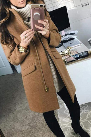 Fashion Pure Colour Stand Collar Woollen Slim Zipper Coat