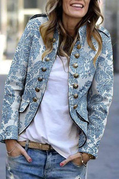 Fashion Print Long Sleeve Suit Cardigan