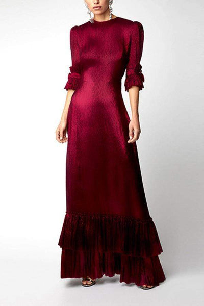 Flash Sale Fashion Round Collar Pure Color Long Dress