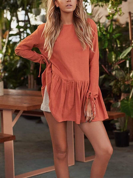 Casual Round Neck Pure Colour Long Sleeve Mini Dresses